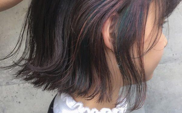 【インナーカラー】三色混ぜた細めハイライト